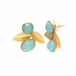 Aqua Chalcedony New Designer Stud Earring