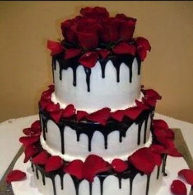 black forest wedding cake decoration with flower shaadi ka cake