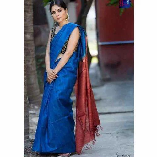 e74ba9892fe70d Ladies Tussar Silk Blue Plain Saree With Blouse Piece