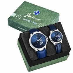 Jainx Blue Day and Date Function Analog Couple Watch JC477