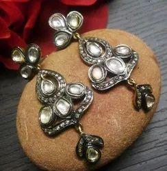 Real Diamonds 92.5 Silver Beautiful Rosecut Diamond Earring