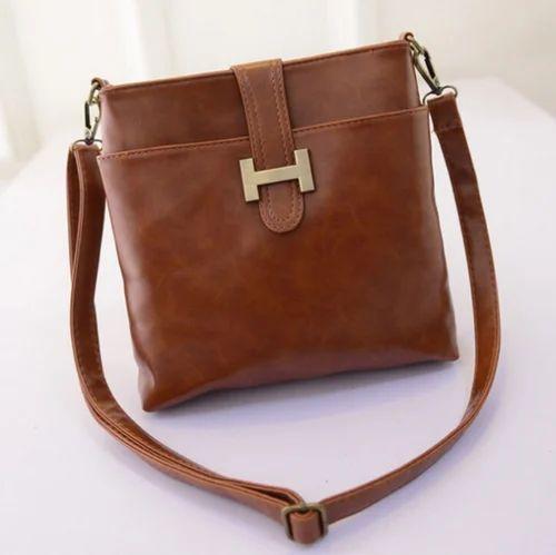 3c6d93cb30 Brown Plain Leather Sling Bag