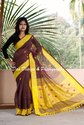 Ethnic Handloom Linen Ball Butta Brown Saree