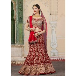Semi-Stitched Wedding Wear Embroidered Red Ladies Lehenga, Packaging Type: Packet