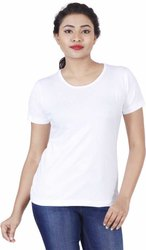 White Cotton Plain Plain Cotton T Shirts
