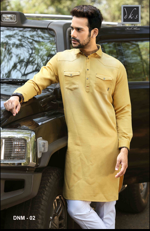Yellow Denim Kurta Dnm 02 Rs 2600 Piece Dawood Khan Tailors Id