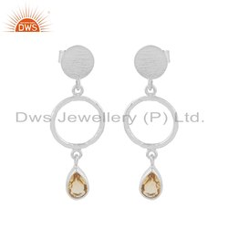 Sterling Fine Silver Natural Citrine Gemstone Earring Jewelry