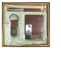 Brown Leather Card Holder Key Ring And Pen Set (3 In 1)