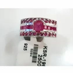 Sterling Silver Ruby Sapphire Ring