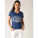 Ladies Round Neck Printed T-shirt, Size: S To Xl