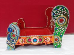 Multicolor RC Export Elegant Meenakari Work Krishna Singhasan, For Decorative, Size: 4.5*8