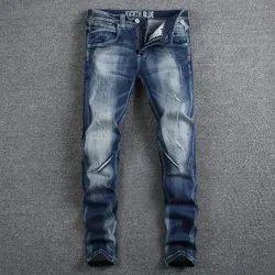 Mens Cotton Knitted Lycra Designer Vintage Jeans