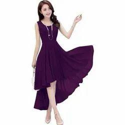 Casual Wear Plain Flared Ladies Designer Dress