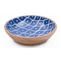 Blue White Wooden Enamel Serving Bowl