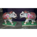 White Marble Handmade Elephant Pair