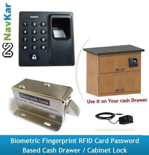 Navkar Systems Biometric Fingerprint Rfid Card Password Based Drawercabinet Lock And Adapter Silve