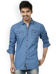 Party Wear Mens Denim Blue Half Shirt