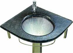 Black Glass Corner Wash Basin Set