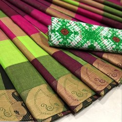 Multi Coloured Checkered Chettinad Cotton Saree