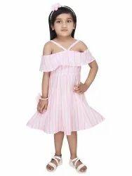 Kids Pink Stripe Dress 100% Cotton