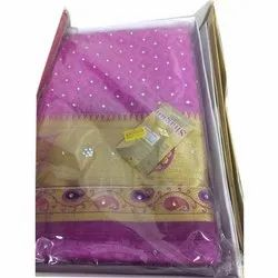 Printed Pink Silk Sarees, Packaging Type: Box, 6 M (with Blouse Piece)