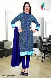 Blue with Sky Blue Border Italian Crepe Uniform Salwar Kameez