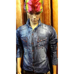 Denim Full Sleeves Shirt, Size: M, L and XL