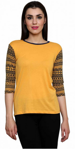 5a2ec81d169 Women Yellow Mustard Color Round Neck T Shirt With Sleeve Print, Size: Large
