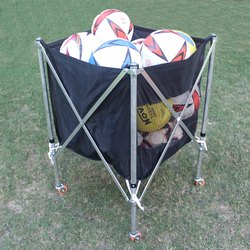 Pepup Black Soccer Ball Bag Foldable Trolley, Load Capacity: 15-20 Balls
