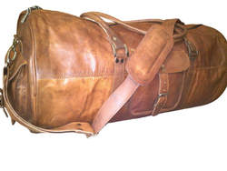 Three Pockets Round Leather Duffel Bag
