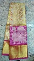 Wedding Wear Kanchipuram Silk Saree, Dry clean, 5.5 m( with blouse piece)