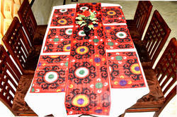 Cotton Kantha Table Runner With Placement Set