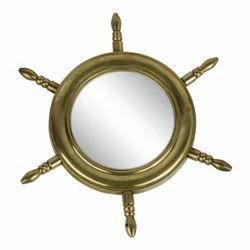 Nautical Brass Ship Wheel Mirror