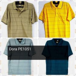 Mens Cotton Polo Striped T Shirt