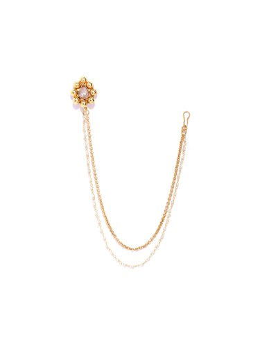 Priyaasi Gold Plated Kundan Studded Dual Chain Nath Nose Ring