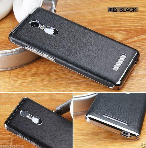 the best attitude 41800 dd76b Luxury Chrome Bumper Leather For Xiaomi Mi Redmi Note 3 Back Cover