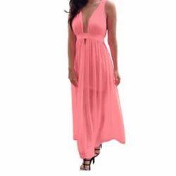 Chiffon Pink Plain Western Wear Ladies Dresss