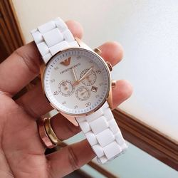 Silicon Rubber Male Armani White Watch For Men