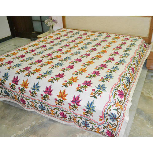 Exceptional Multi Color Embroidered Bed Sheet