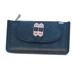 Plain Ladies Black Leather Clutch Purse, Packaging Type: Packet