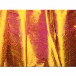 None Handloom Plain Dupioni Raw Silk Fabric, GSM: 100