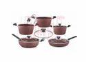 Polished Aluminium Cookware Set - 10 Pcs. Chocolate