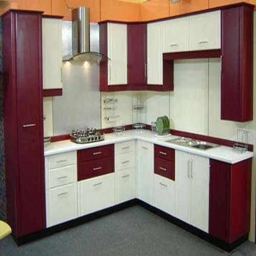 Classic Maroon And White Pvc Modular Kitchen Rs 190 Square Feet S Interior Decors Id 15876834412