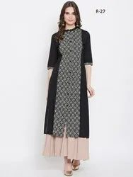 Straight 3/4th Sleeve Cotton Kurtis