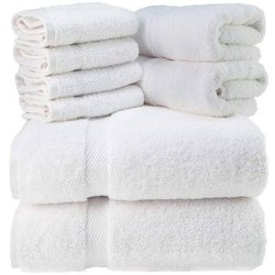 White Plain Cotton Terry Towels, 550-650 Gsm, Size: 27x54 Inch