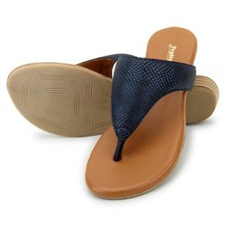 Pepitoes Casual Wear Blue Black Comfort Slip-On Flat Sandal, Size: 36-42