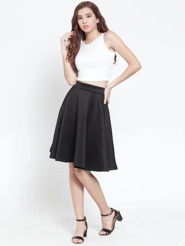 e1c0055d326 Spandex Black Knee Length Skater Skirt