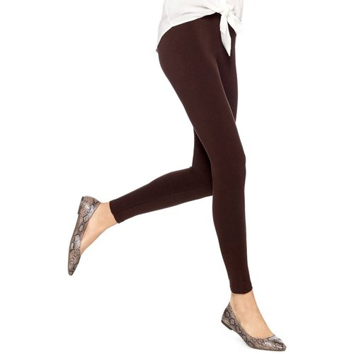 Straight Fit Plain Ladies Brown Cotton Leggings