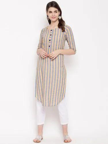 Casual Wear Straight Yarn Dyed Stripes Women Kurta HC756 ...