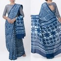 Bagru Indigo Printed Cotton Saree